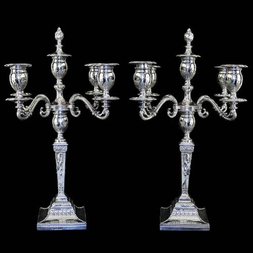 Pair of Victorian Sterling Silver 5 Light Candelabra