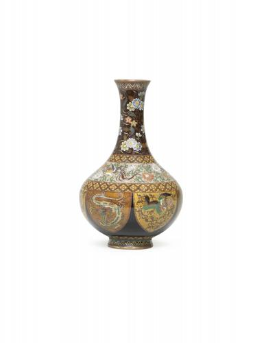 Japanese cloisonne' enamel vase worked in silver and gilt wire, Meiji Period.