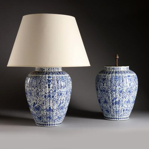 A Large Pair of Blue and White Delft Lamps