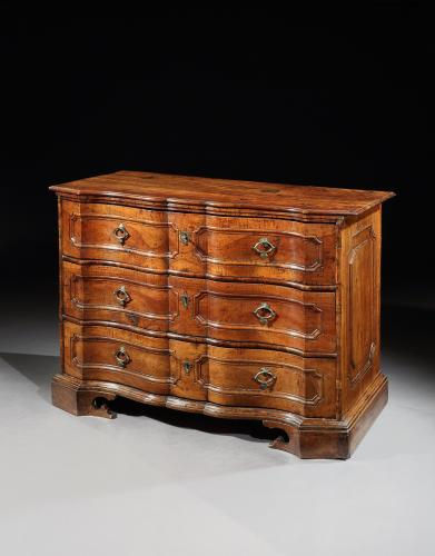 An exceptional, early-18th century, North Italian, walnut commode, probably Venice