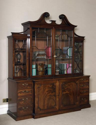 Georgian Period Library Mahogany Breakfront Bookcase