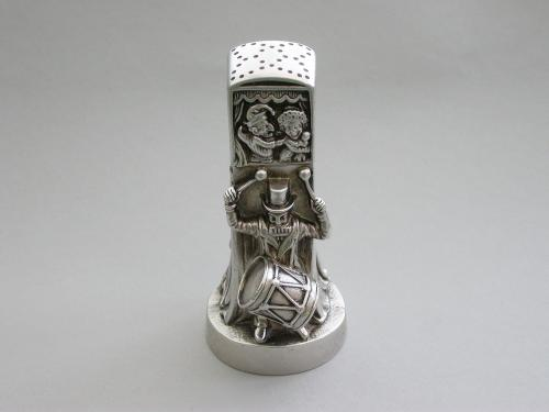 Victorian Novelty Cast Silver Punch & Judy Booth Pepper Pot