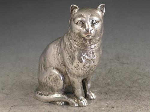 Victorian Novelty Cast Silver Cat Pepper