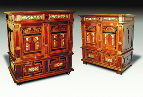 A Matched Pair of Mid-17th Century Oak Inlaid Cabinets