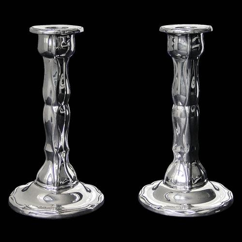 Pair of Art Nouveau Sterling Silver Candlesticks