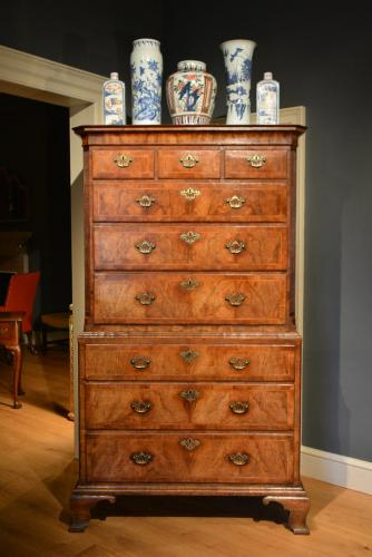 A George II veneered Walnut tallboy Circa 1740