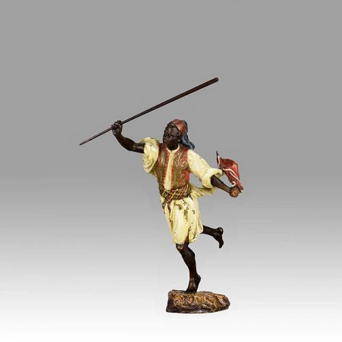 "Austrian Cold Painted Bronze Study ""Arab Man Running"" by Franz Bergman"