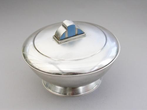 Art Deco Silver & Enamel Bowl & Cover