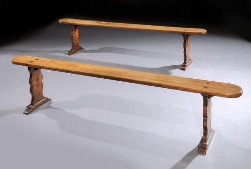 A pair of 19th century, elm benches