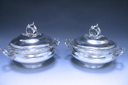 A pair of Antique Silver French Vegetable Dishes