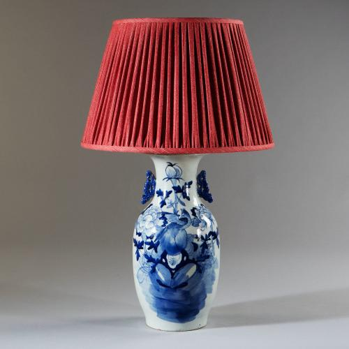 A Late 19th Century Blue and White Lamp