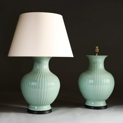 A Pair of 20th Century Celadon Lamps