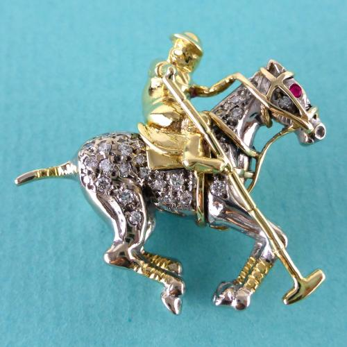 18ct Diamond & Ruby Polo Player Brooch c1960