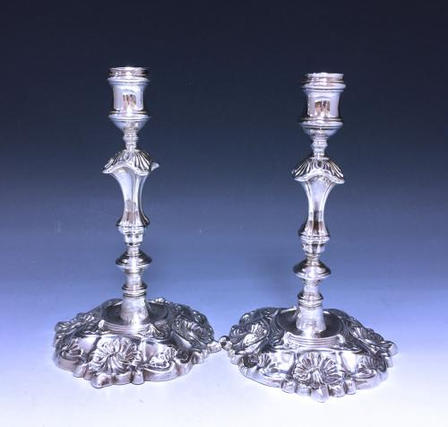 Pair of Antique Cast Silver George II Candlesticks