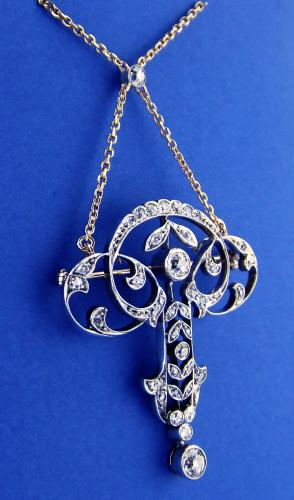 18ct & Silver Set Diamond Pendant / Brooch c1880
