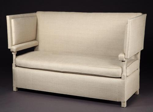 A 19th century, Knole settee re-upholstered in contemporary style