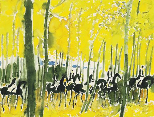 Cavalcade jaune by André Brasilier (b.1929)