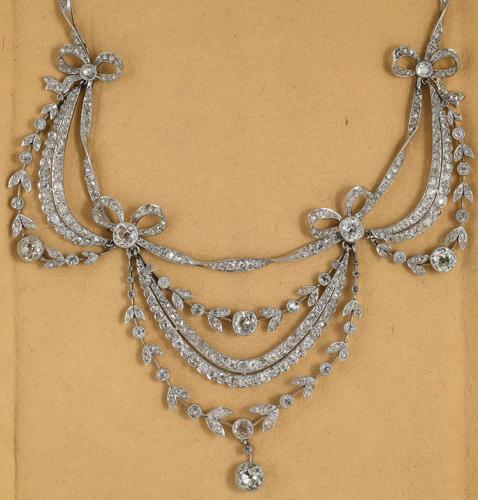 Platinum set diamond Edwardian swag necklace, circa 1910