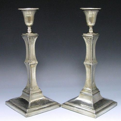 Pair of Old Sheffield Plate Candlesticks