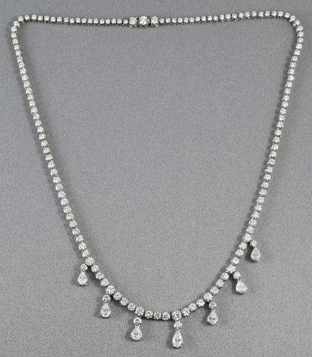 Platinum diamond rivière necklace with fine pear shaped diamond drops Circa 1970