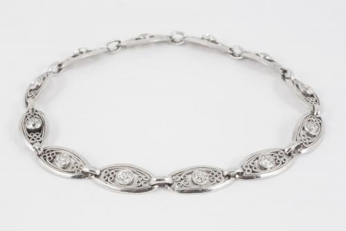 Platinum Bracelet with Openwork Links set with Diamonds, French circa 1920