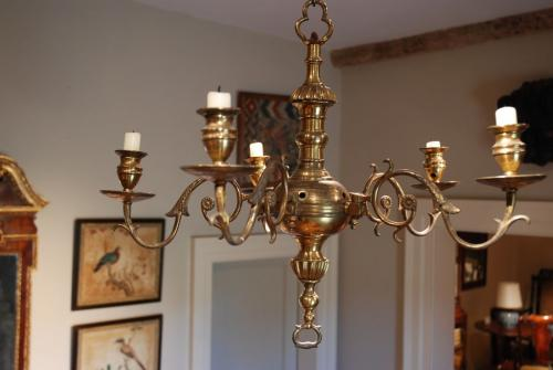 An 18th Century brass five light chandelier
