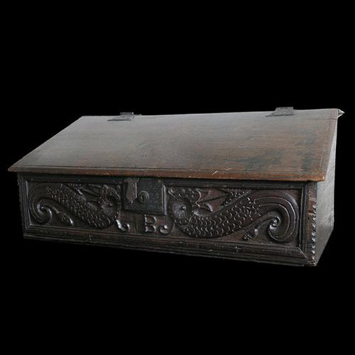 English Carved Oak Writing Slope Desk Box circa 1660 – 80