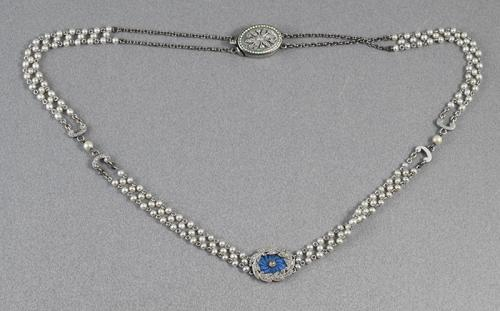 Cartier Platinum Pearl Enamel Edwardian Necklace