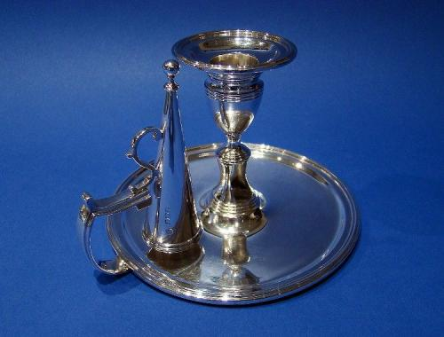 George IV Silver Chamberstick & Candle Snuffer