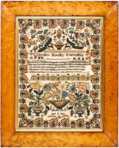 19th century sampler worked by Elizabeth Evans aged 13 years
