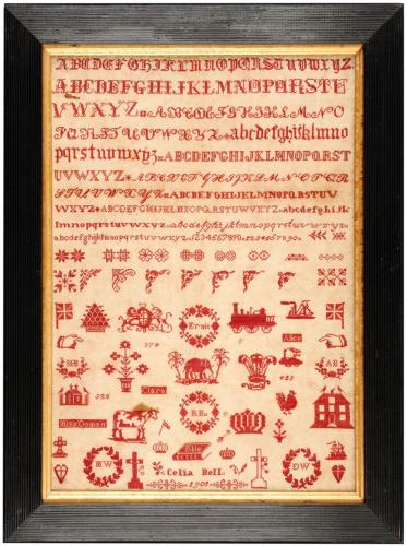 Bristol Orphanage sampler worked by Celia Bell in 1902