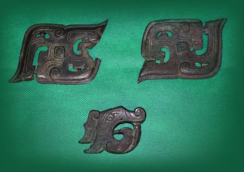 Archaic Bronze and Jade - Zhou Dynasty 10BC A set of three bronze plaques