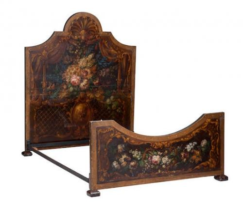 An early-20th century painted double bed