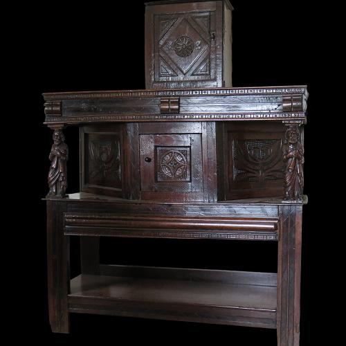 English Oak Standing Livery, or Court Cupboard, circa 1620