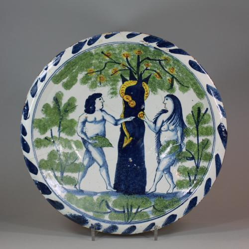 Bristol delftware polychrome 'Adam and Eve' plate, circa 1730-40