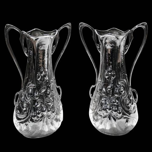 A Pair of Antique English Sterling Silver Art Nouveau Vases