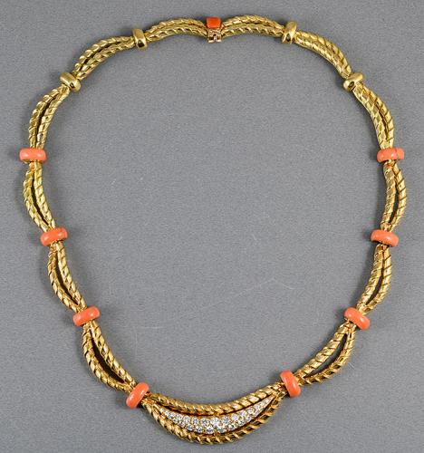 Mappin And Webb 18ct gold coral and diamond necklace