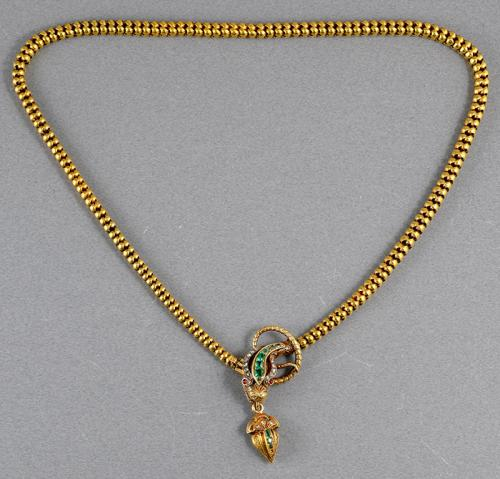 Victorian gold emerald and diamond boxed snake necklace