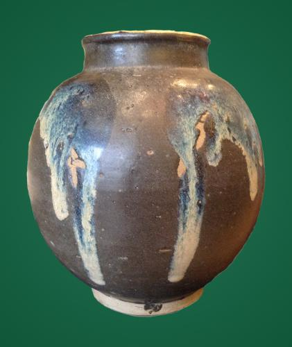 Splashed glazed stoneware jar