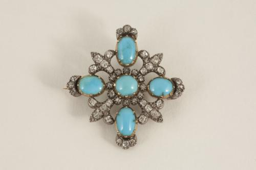 Antique Brooch set with Turquoise & Diamonds in 18 Carat Gold & Silver, English circa 1830