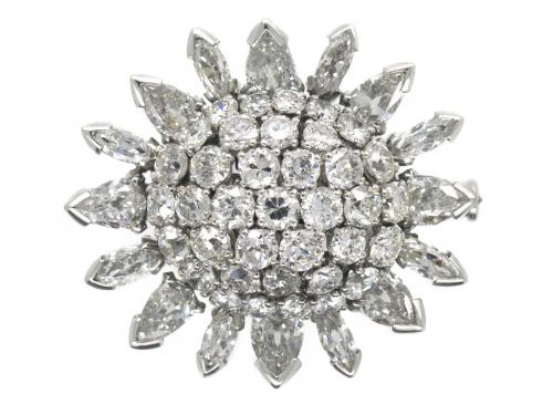 Oval Cluster Platinum Brooch with Marquise & Pear Shaped Diamonds, French circa 1960