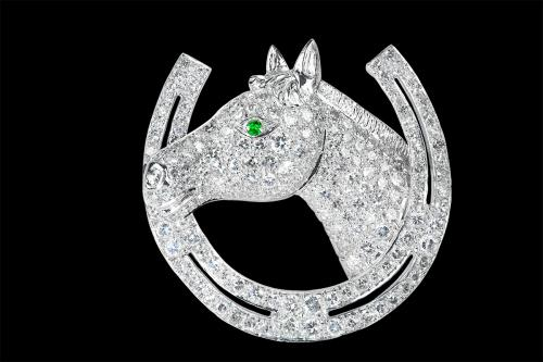 Diamond Equestrian Brooch of a Horses Head and Horse Shoe in Platinum, English circa 1960