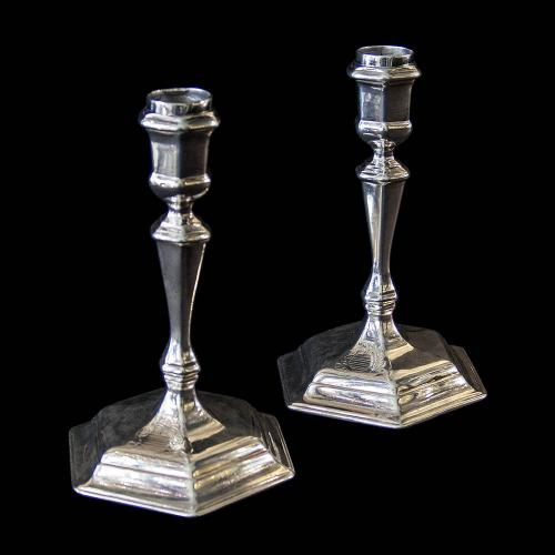Pair of Britannia Silver Georgian Candlesticks