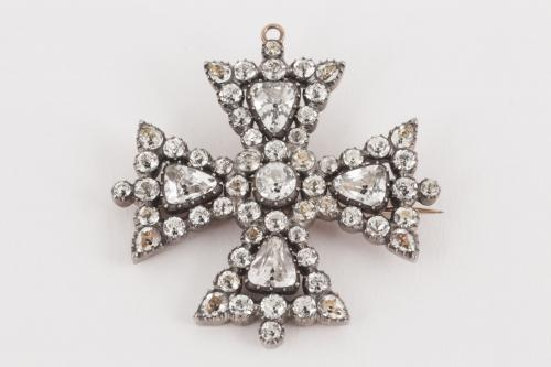 Maltese Cross Antique Brooch with Brightly Foiled White Crystal, English circa 1820