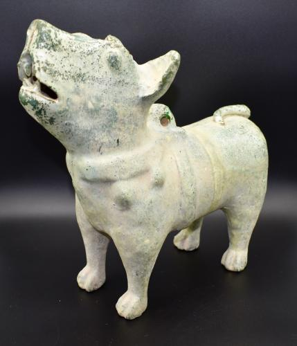 A Green-Glazed Pottery Figure of a Dog, Eastern Han dynasty (AD 25-220)