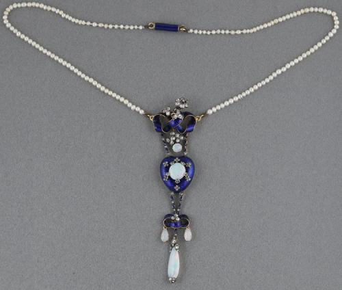 Victorian diamond opal enamel boxed pendant with pearl removable chain and extra gold chain enamel clasp   In box circa 1870