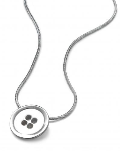 One Piece Button Silver Pendant