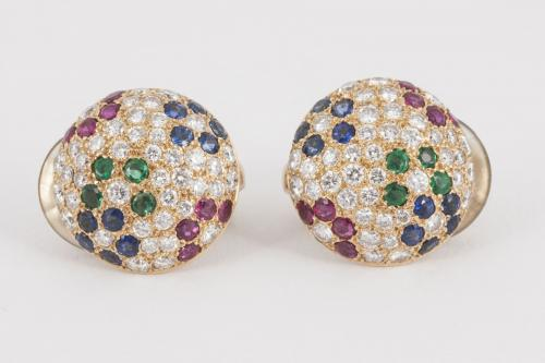 1980's Vintage Clip Earrings in 18 Karat Gold with Pave Set Diamonds and Coloured Stones, French circa 1980