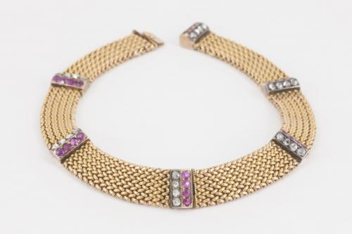 Antique Bracelet in 14 Karat Gold with Rubies and Diamonds, Austrian circa 1900