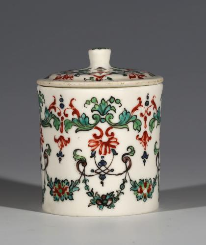 A Saint-Cloud Polychrome Pot à Fard and Cover